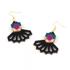 Statement earrings - Form 034 pink, gold and teal