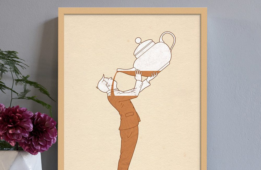 Print of a man drinking tea from a giant teapot