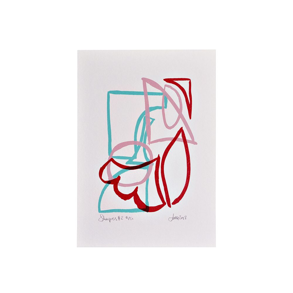Limited edition art prints - abstract shape outlines screenprint