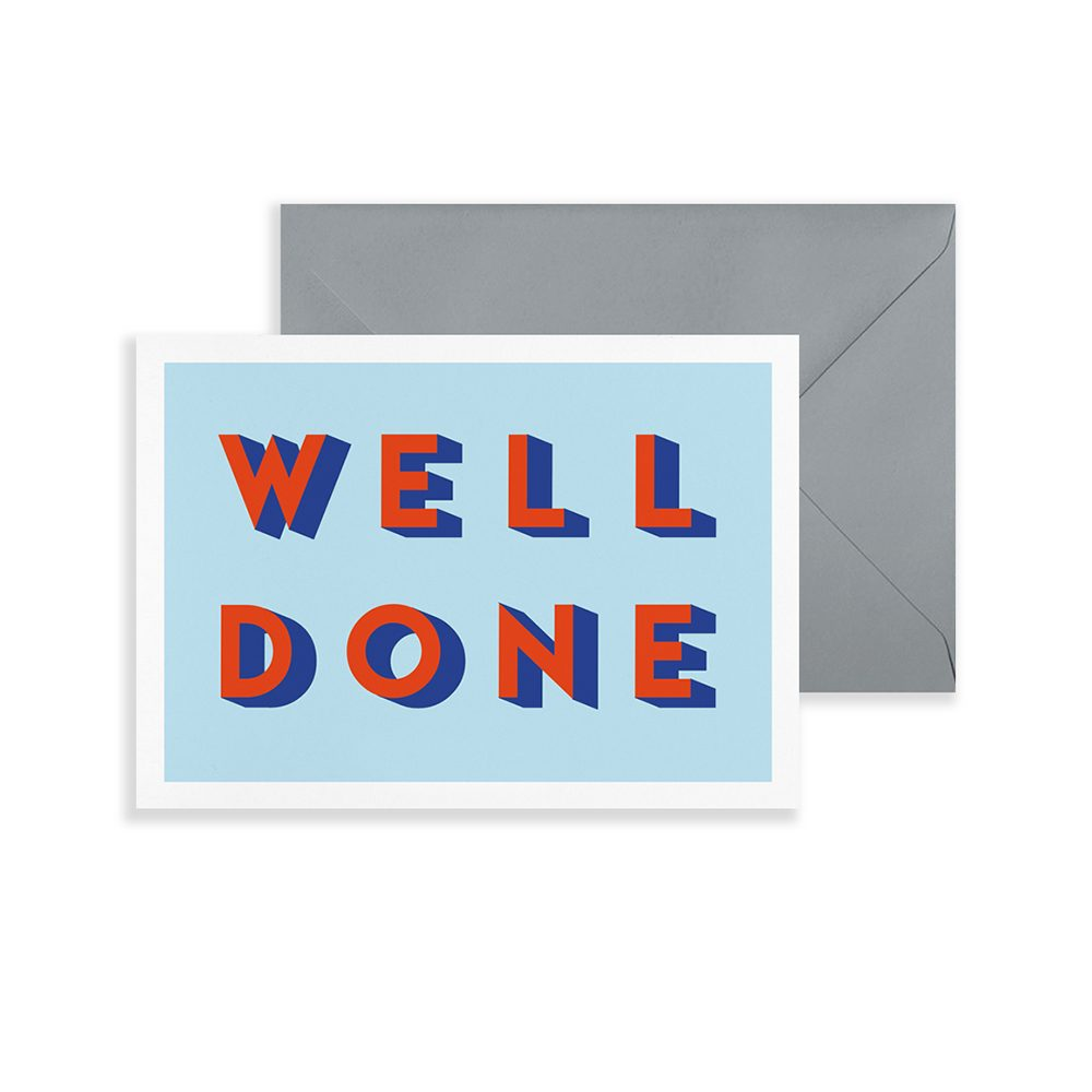 Typographic Well Done greetings card
