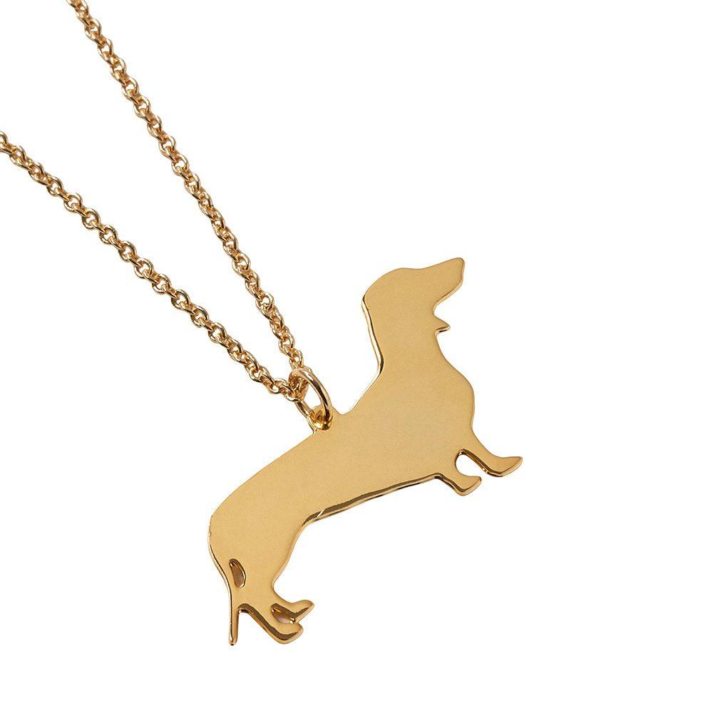 Unique Necklace Gold Sausage Dog