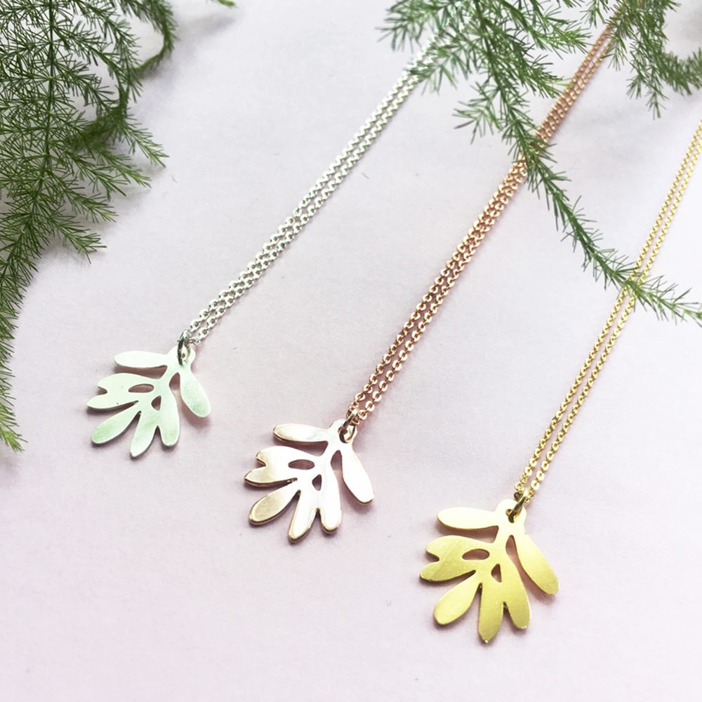 Unique Necklaces Olive Leaf trio