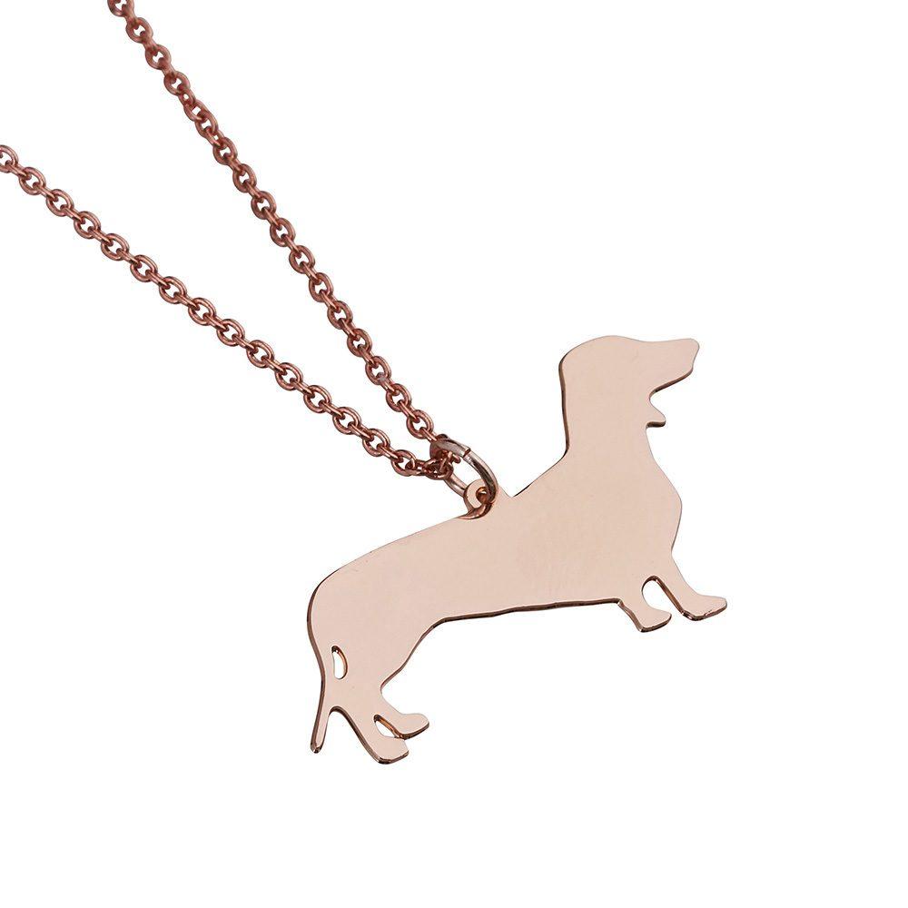 Unique Necklaces Rose Gold Sausage Dog