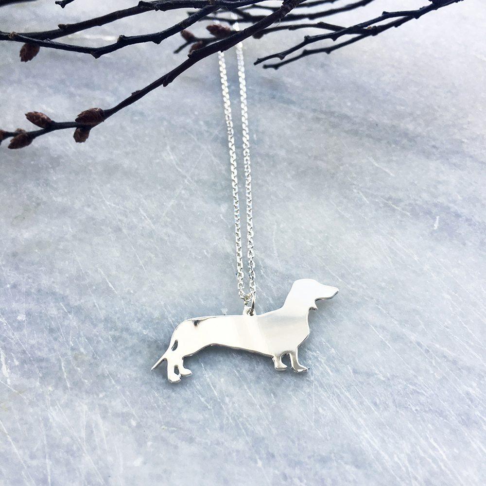 Unique Necklaces Silver Sausage Dog Lifestyle