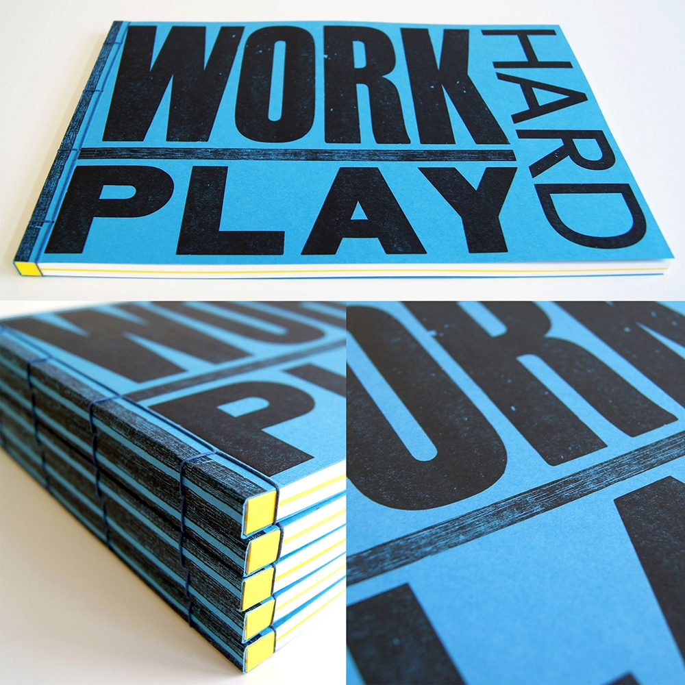 Unique stationery - handmade Work Hard Play Hard type blue notebook details