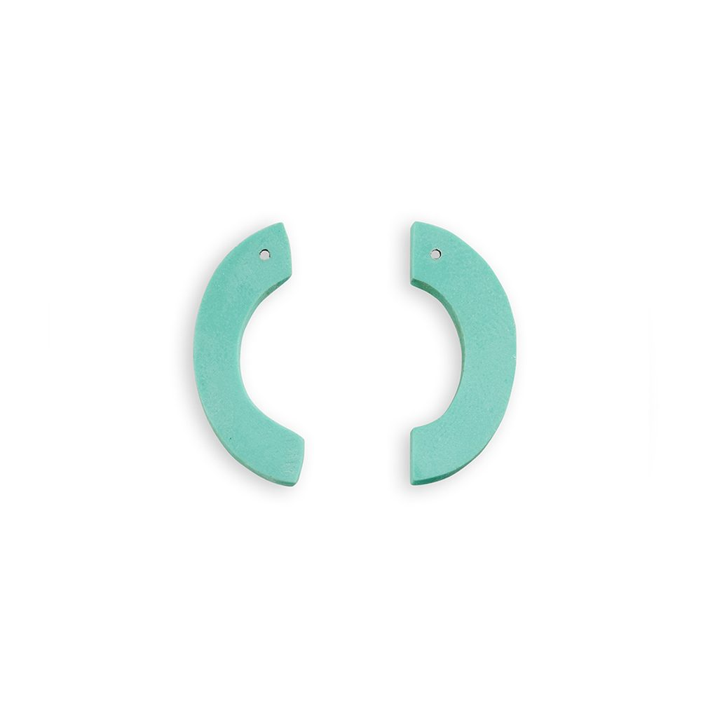 Unique Earrings - turquoise curve studs