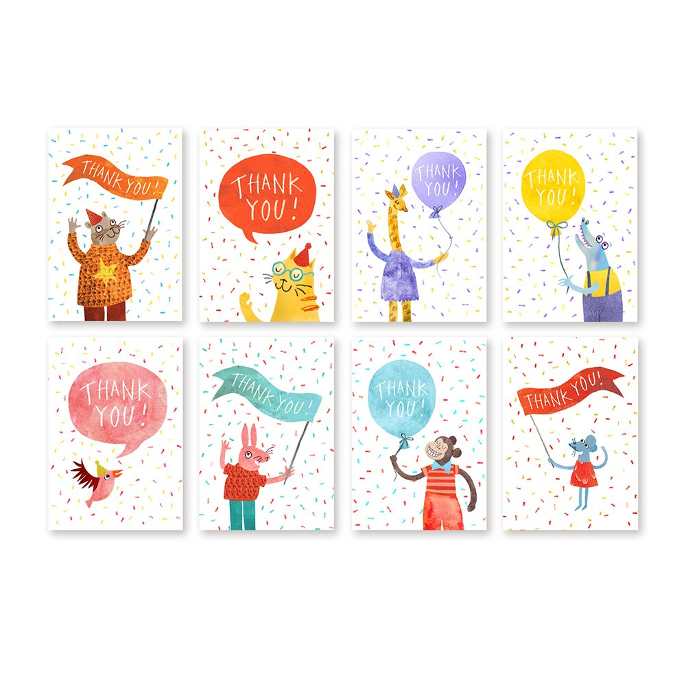 Unique greetings cards mini thank you card pack