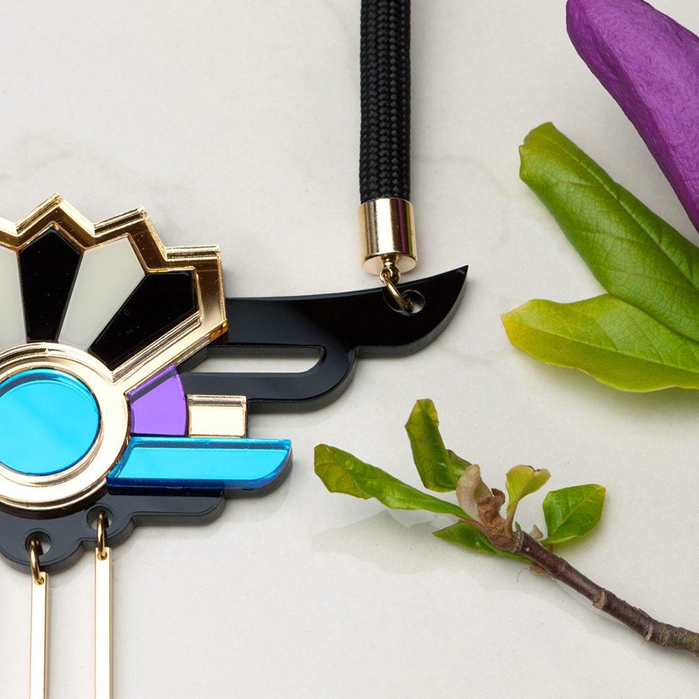 Unique necklaces - Form 038 gold, blue, purple statement necklace