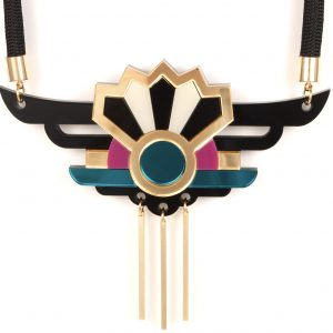 Unique necklaces - Form 038 teal, pink, black and gold statement necklace