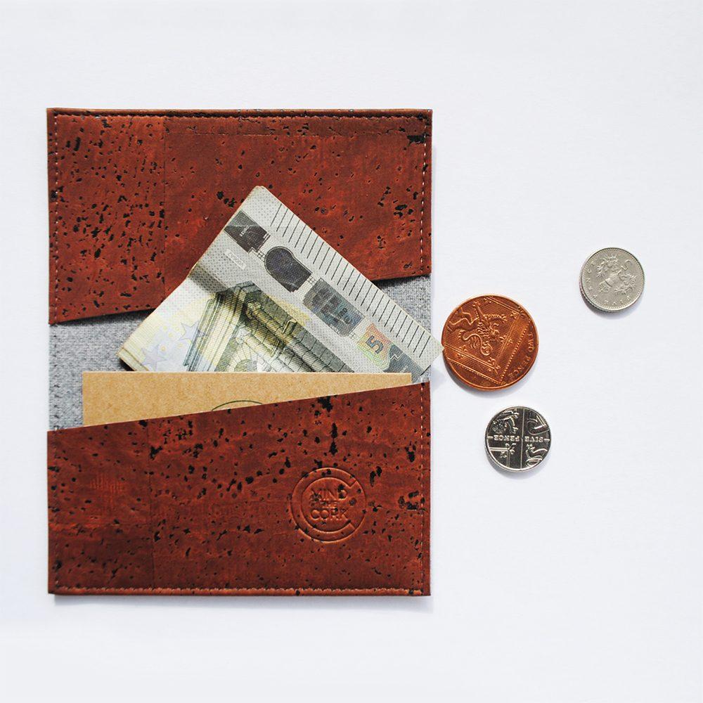 Cork cardholder with money
