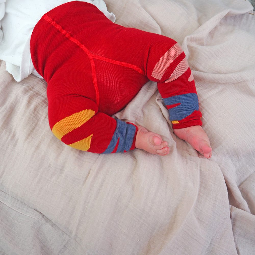 Unusual gifts for kids - red and blue organic baby leggings