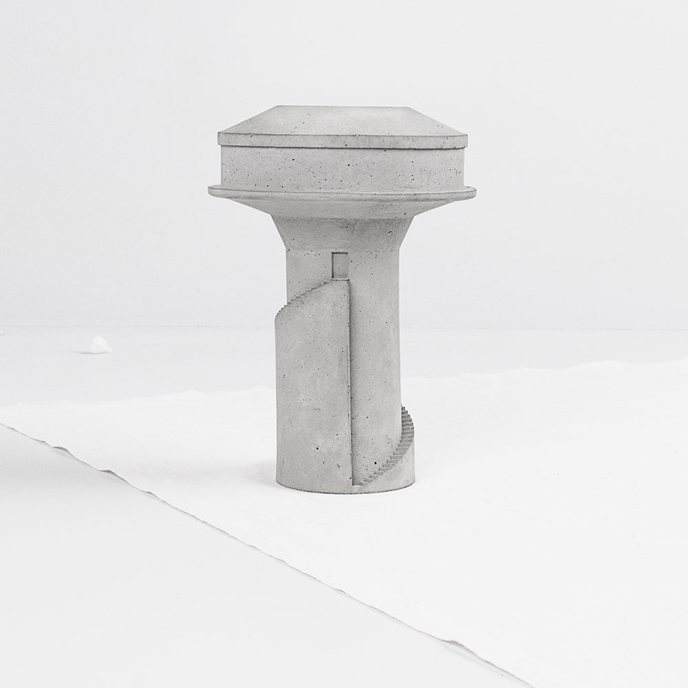 Unusual homeware - cast concrete water tower planter