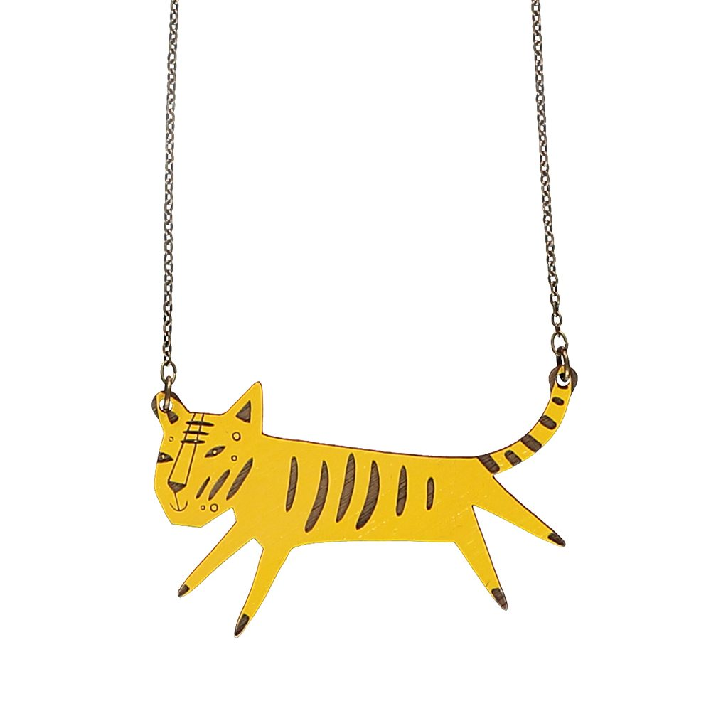 Unusual jewellery wooden tiger necklace