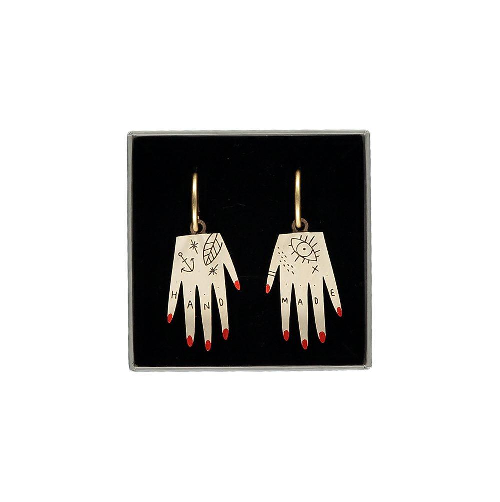 Unusual jewellery - wooden hand earrings