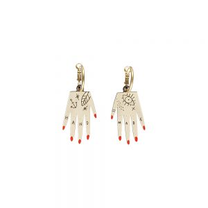 Unusual jewellery - wooden hand earrings