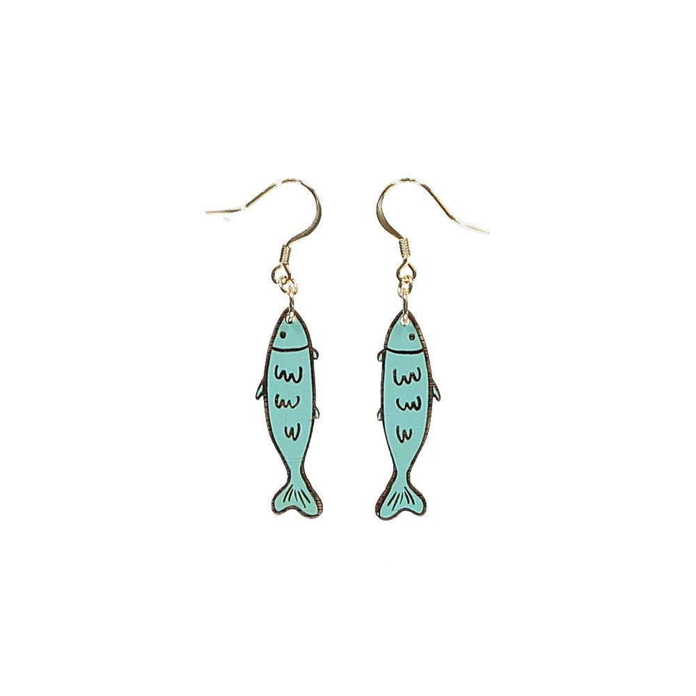 Unusual jewellery - wooden sardine earrings