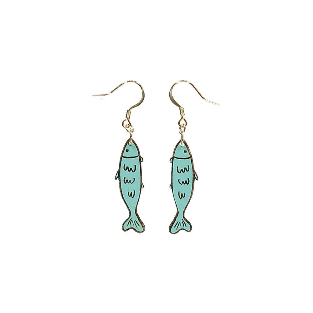 Unusual jewellery - wooden sardine earrings