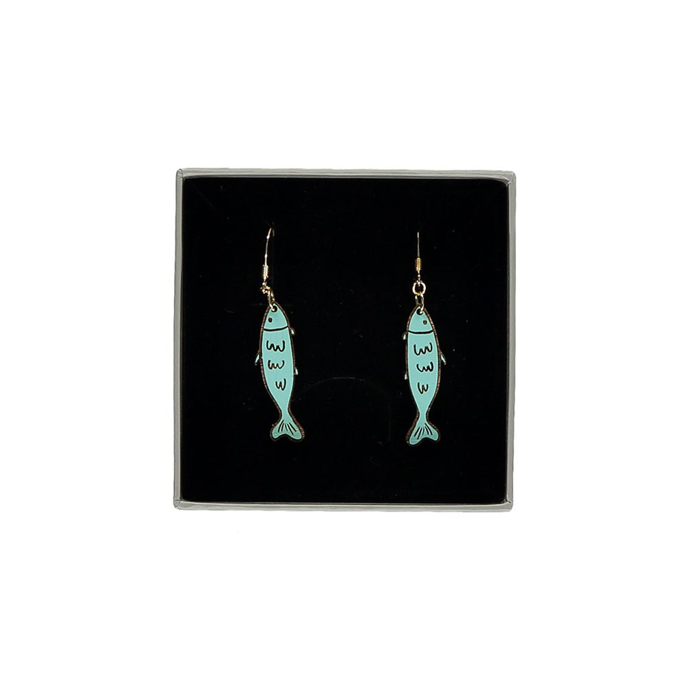 Unusual jewellery - wooden sardine earrings gift box