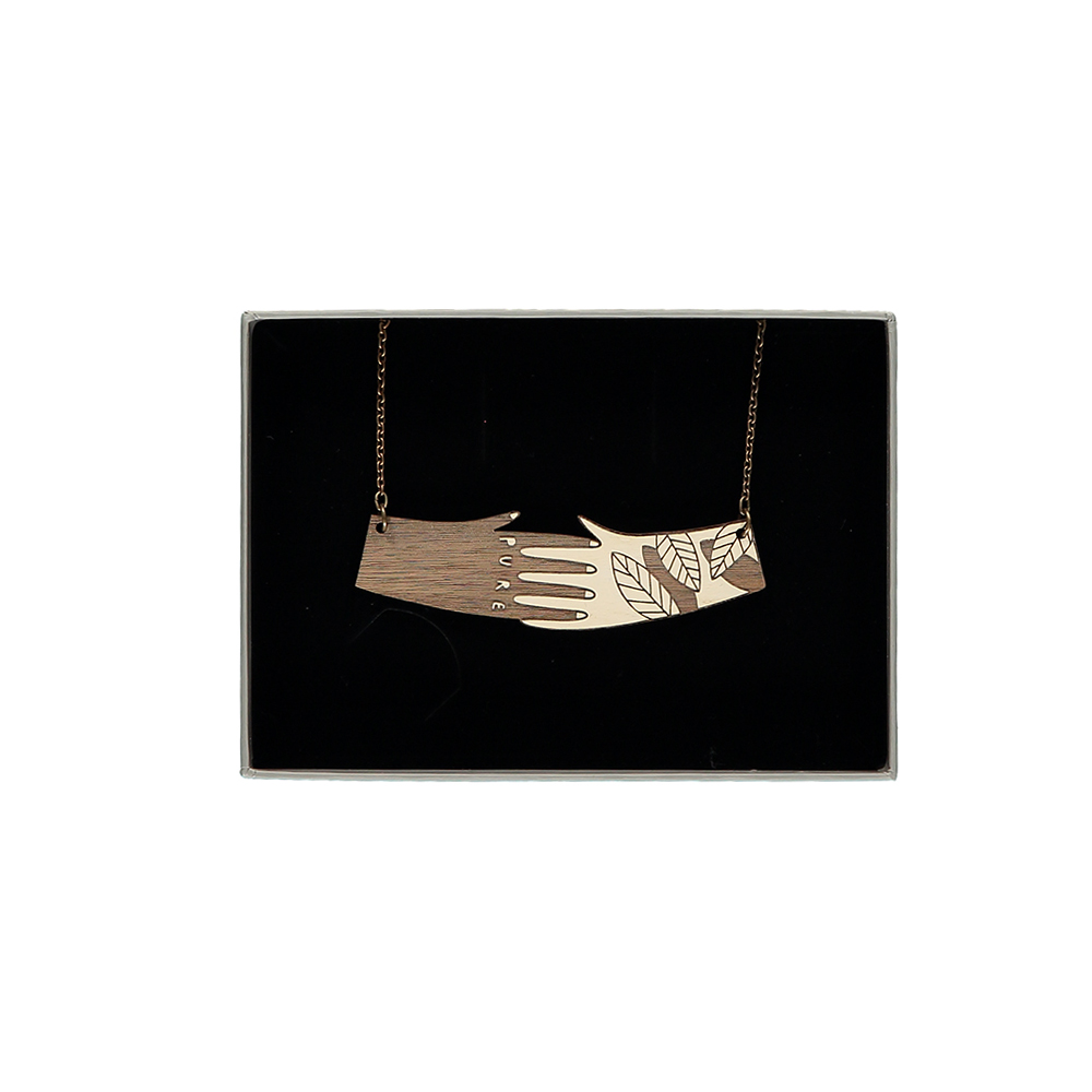 Unusual Jewellery Wooden Hands Necklace Not Just A Shop