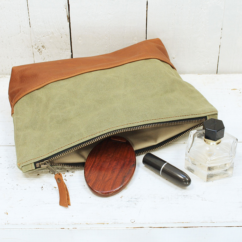 green wash bag styled