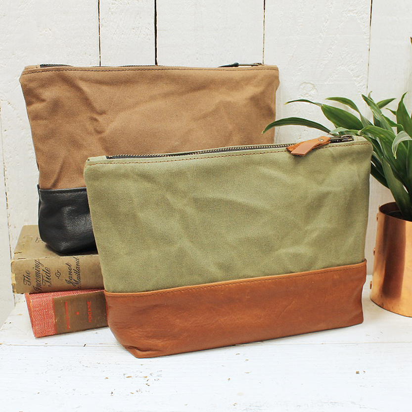 brown green washbags