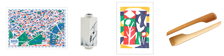 Soho map, hand painted vase, abstract flowers print and bamboo servers