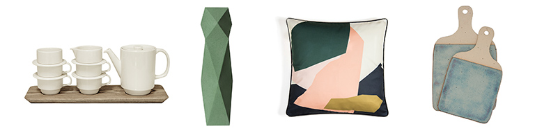 Tea set, vase, cushion and ceramic cheeseboards