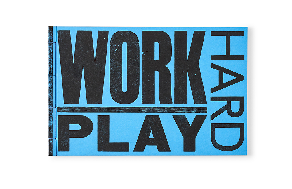 Bright blue with Work Hard Play type print