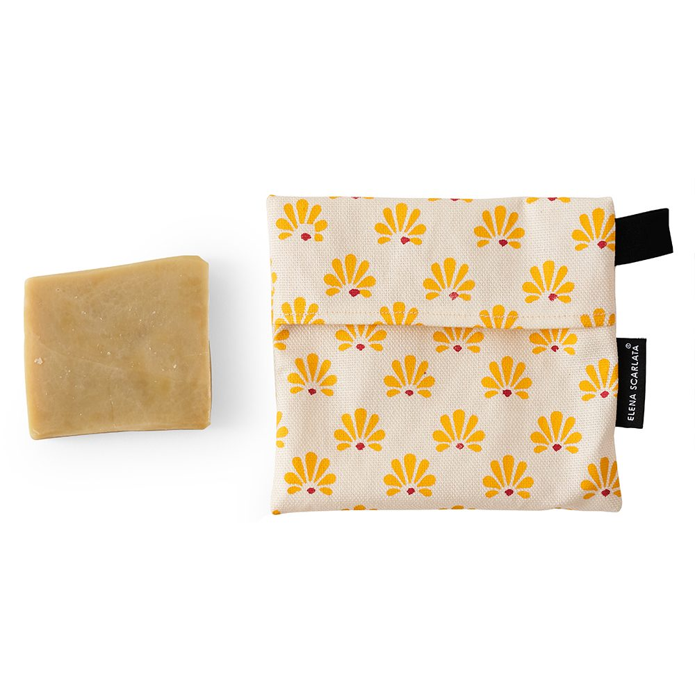 Gift ideas under £20 - organic soap bag with yellow pattern