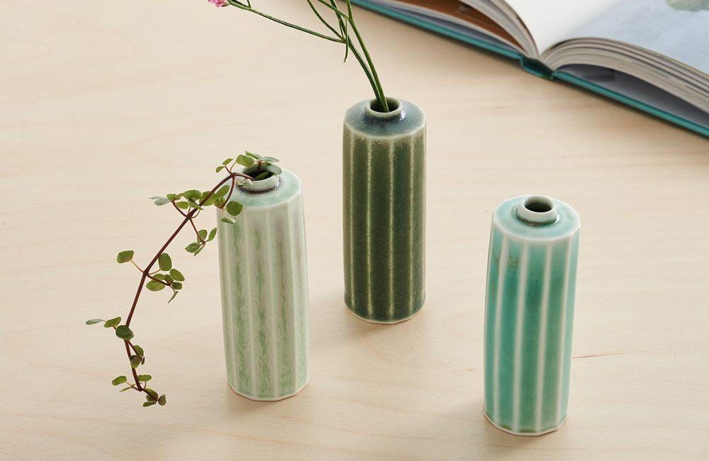 Three mini green pots