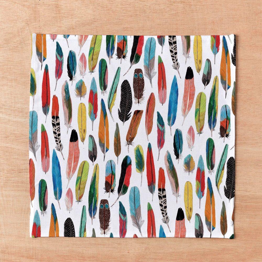 Feathers designer pocket square by James Barker