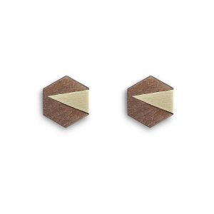 Handmade cufflinks - brass and walnut