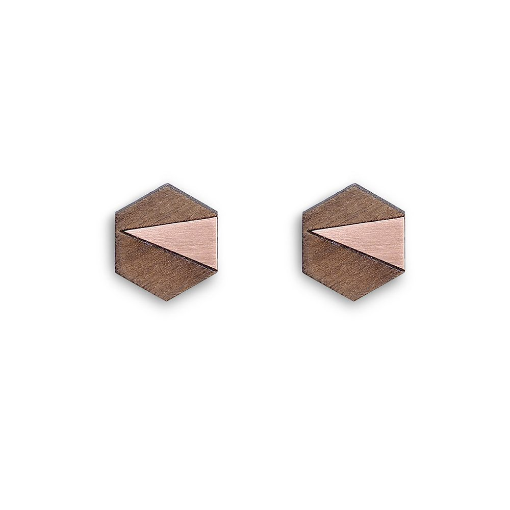 Handmade cufflinks - copper and walnut