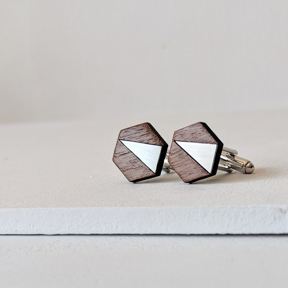 Handmade cufflinks - steel and walnut
