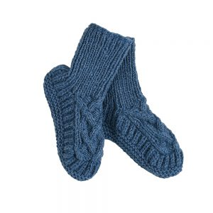 Luxury slipper socks blue wool