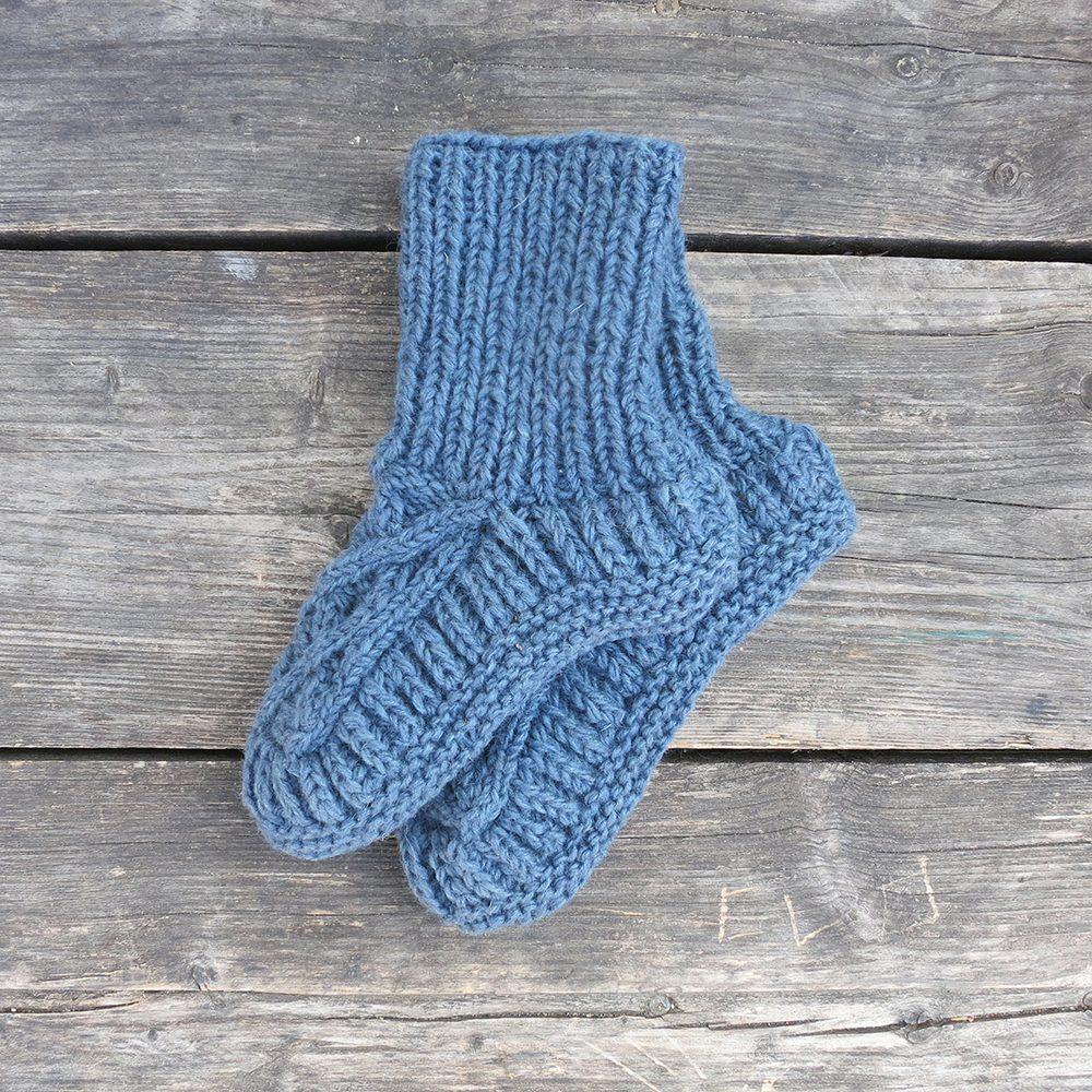 Luxury slipper socks blue wool