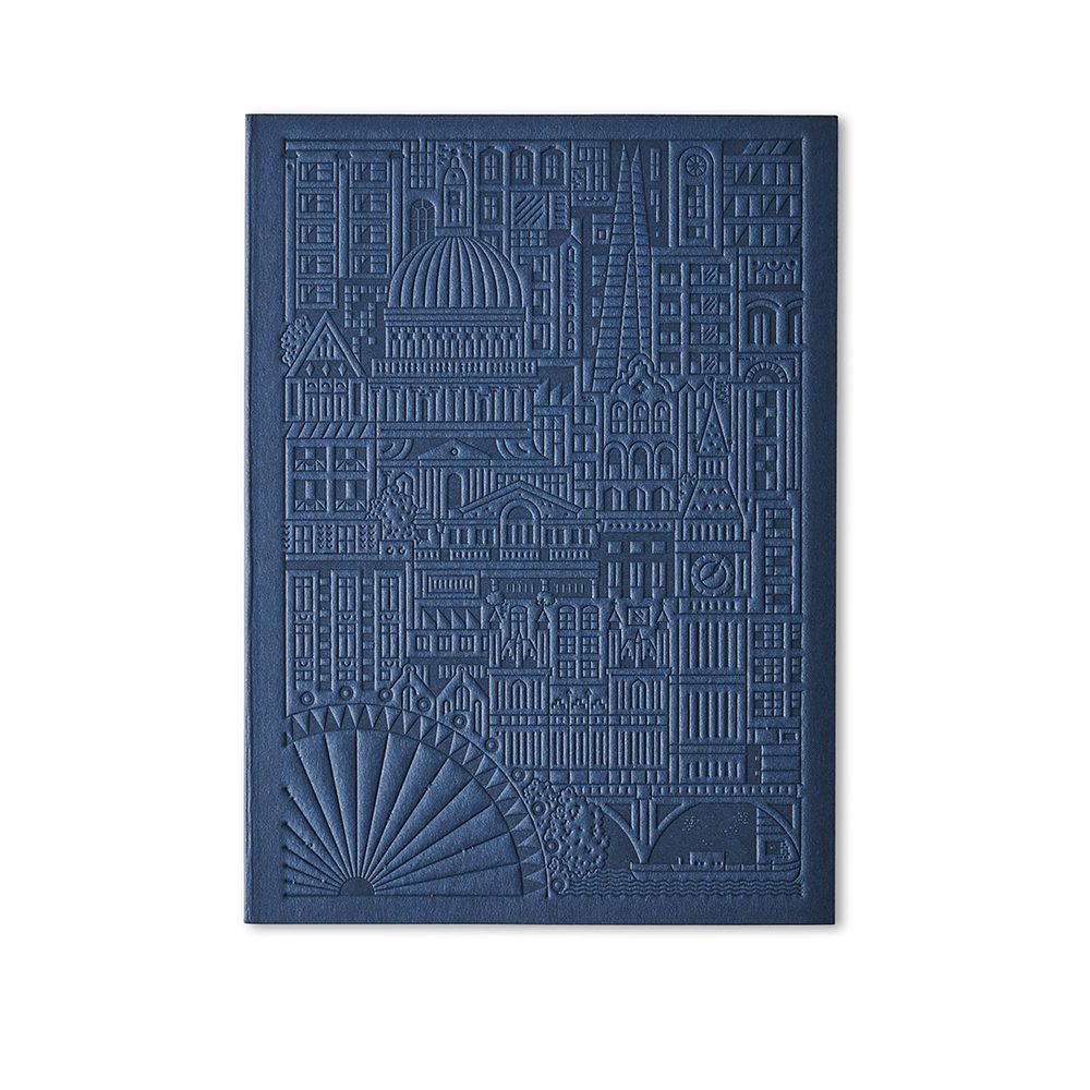 Luxury notebooks - London debossed design in navy blue