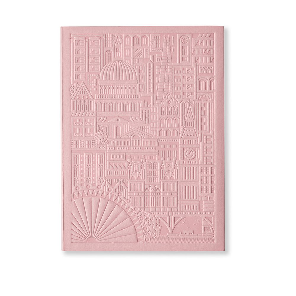 Luxury notebooks - London debossed design in pink