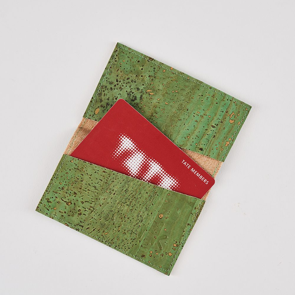 Mens accessories gifts - sustainable cork cardholder in green