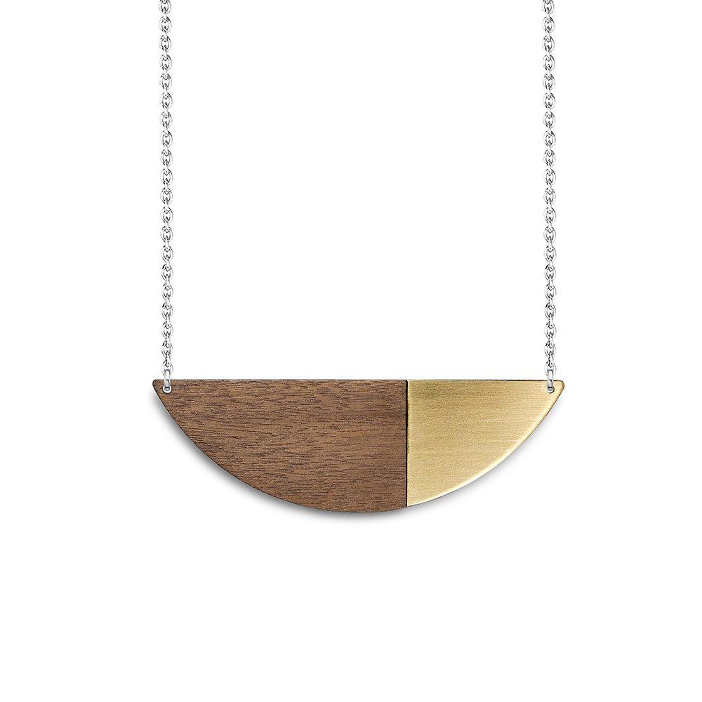 Alexandra brass and walnut statement necklaces