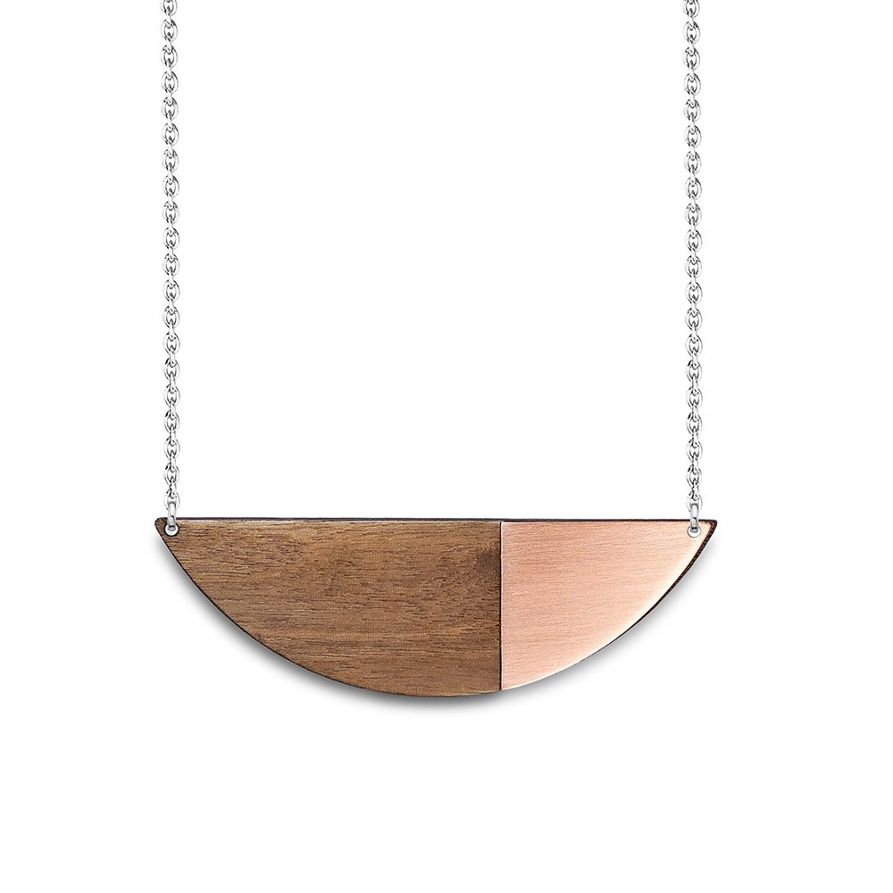 Alexandra copper and walnut statement necklaces