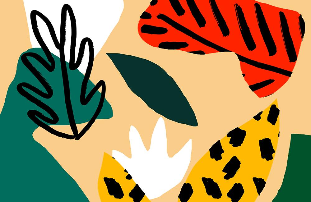 Detail of Teresa Rego black leaves print