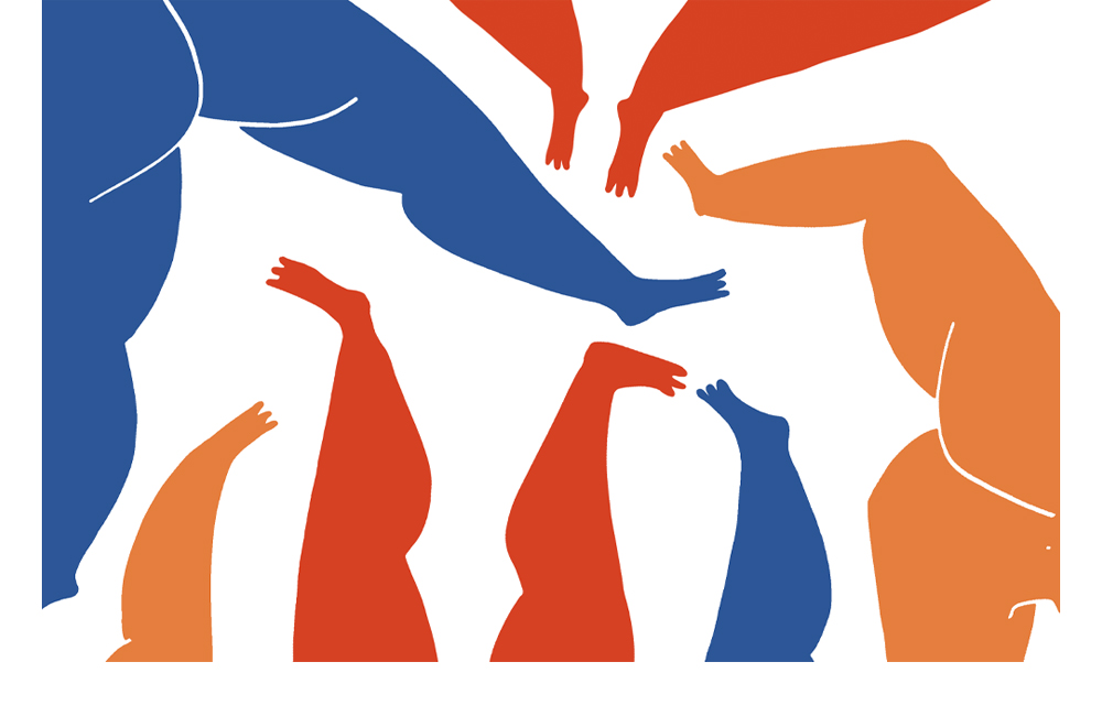 An illustration of blue, orange and red legs and bums